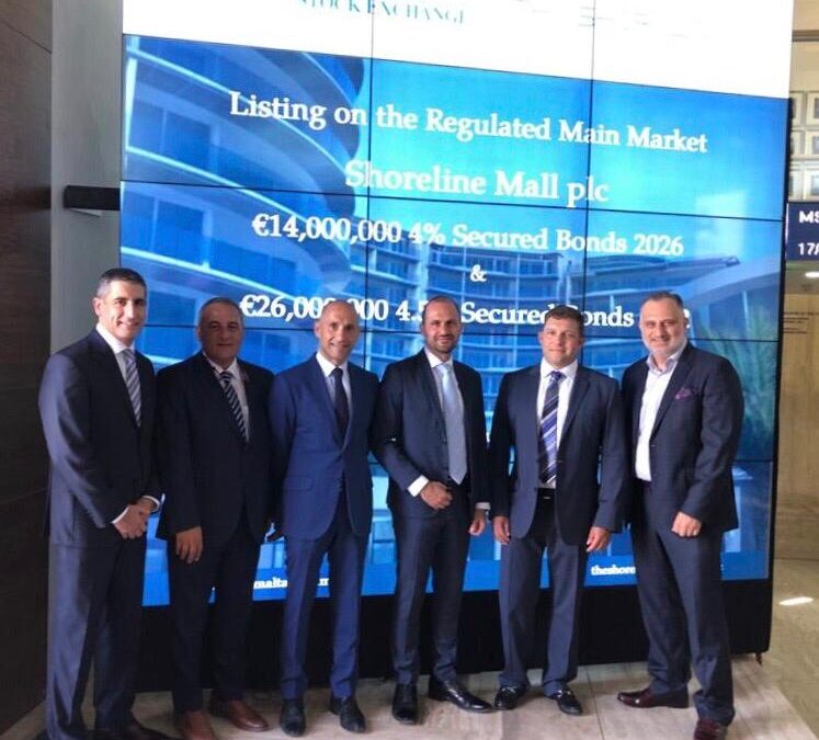 Shoreline Mall plc Bonds Admitted to Listing on the Official List of the Malta Stock Exchange
